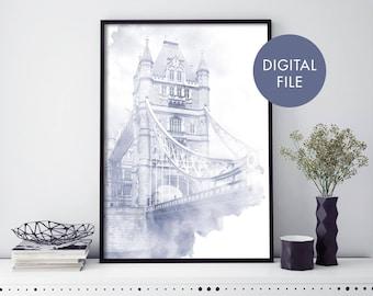 Tower Bridge, London Watercolour Print Wall Art   Print At Home   Digital Download File