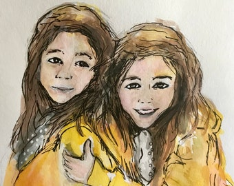 Custom Portrait from Picture, Illustration,  Watercolor Illustration, Personalized Gift, Archival Quality 8x10