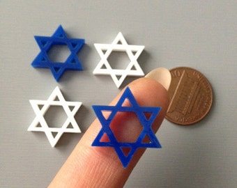 4x laser cut acrylic star of david cabochons blue and white