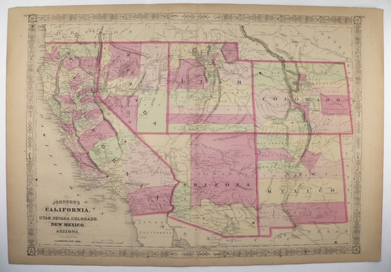 Antique California Map Colorado Arizona Map New Mexico Utah