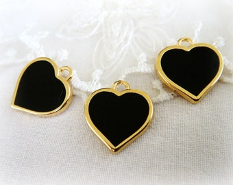 "Gold Plated with Black Enamel Heart Charm Pendant, Love Charm, Tiny Charm, Small Charm, Gold Metal 15x16mm / 0.59"" x 0.62"" - 1 piece"