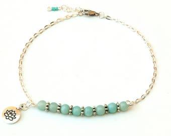 Amazonite anklet, anklet, lotus anklet, gemstone anklet, blue anklet, beach anklet, healing anklet, amazonite jewelry, boho anklet