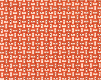By the HALF YARD - Bread n' Butter by Sandy Klop of American Jane for Moda, #21698-12 Vertical & Horizontal Ivory White Rectangles on Orange