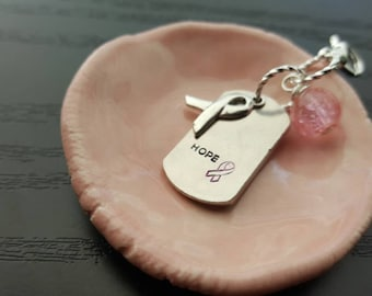 PINK planner charm breast cancer awareness pink ribbon handstamped