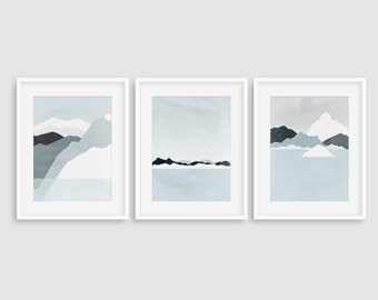 Wall Art Set of 3 Prints, Mountain Print, Modern Art Prints, Abstract Landscape Print, Minimalist Art, Blue Wall Art, Winter Landscape