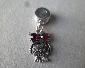 x 1 pendant form an OWL in red/white silver rhinestone antique 30 x 12 mm