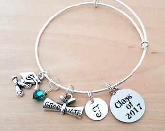 Graduation Class of 2017 Bracelet - Graduate Gift - Personalized Bracelet - Adjustable Bangle - Birthstone Bracelet - Personalized Jewelry