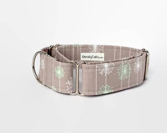 Dandelion Flowers Adjustable Dog Collar - Martingale Collar or Side Release Buckle Collar - Green & white Dandelions on grey