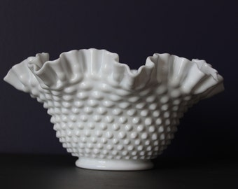 Fenton Hobnail Milk Glass Ruffled Edge Bowl