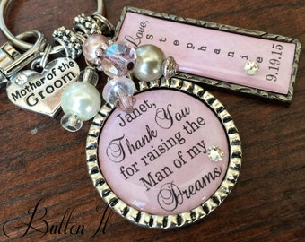 MOTHER of the GROOM, Mother of the BRIDE, Personalized wedding, Thank you for raising the man of my dreams, wedding keepsake, Blush pink