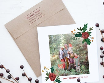 Handpainted Floral Corner Photo Christmas Card