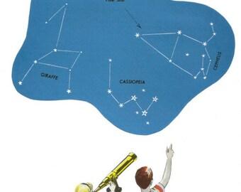 Original Collage, Star Map Wall Art, Astronomer Artwork, Constellation Chart, Astronomy Wall Decor
