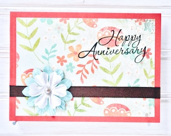 ANNIVERSARY Greeting Card - Unique Handmade Happy Anniversary Card / One-of-a-Kind Homemade Card / Blank Card / Anniversary Card for Her