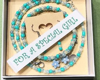 Girls 3 piece Jewelry set, Girls Blue Necklace set, Girls Bracelets, Girls Seed Bead Necklace, Girls Jewelry set, Girls 4-12 Jewelry