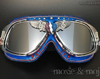 """Burning Man Goggles, Winged Goggles, Silver Lens: """"The Music Never Stopped"""" ~ Anti-Dust, UV400 protection goggles ~ perfect for the Playa!"""