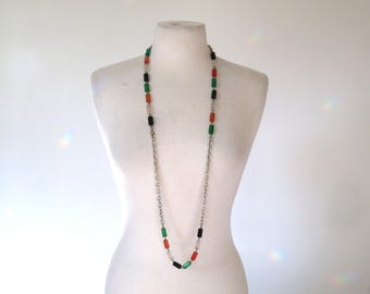60s long chain necklace with lucite beads