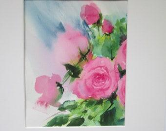 rose in light 2 ~ original watercolor