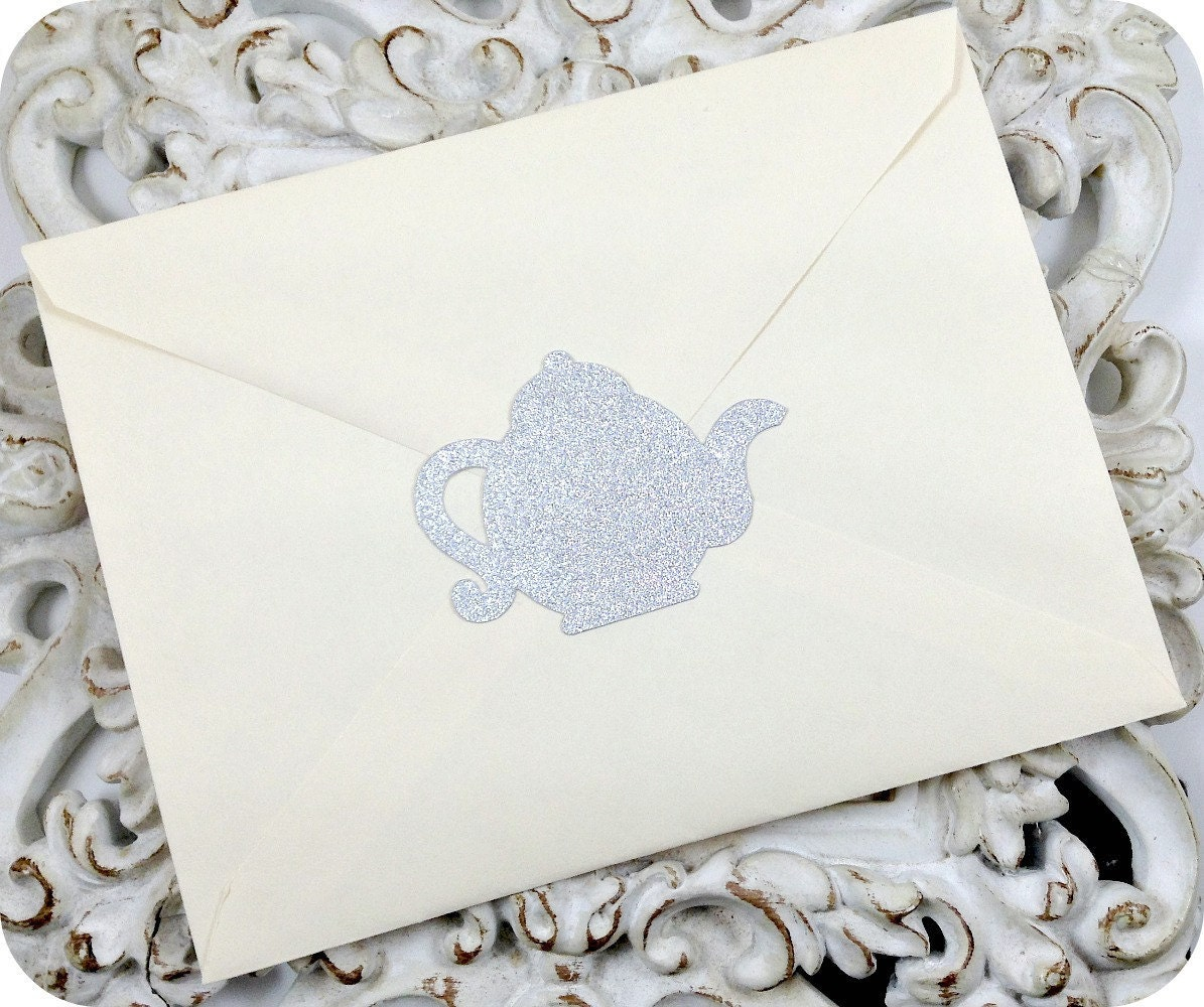 Glitter Teapot Stickers (12) Tea Party Stickers-Envelope Seals-Treat ...