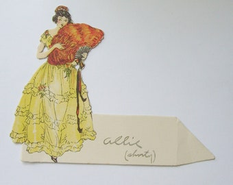 Vintage place card lady in yellow dress with roses and large fan ephemera