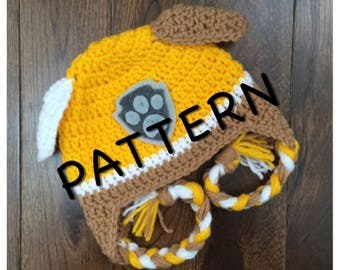 Instant PDF Download, Paw Patrol Rubble Hat Pattern