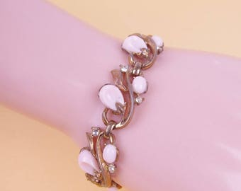 Vtg Pink 50/60s Thermoset & Rhinestone Bracelet 'As Is'