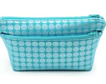 Small Teal Pouch Cosmetic Travel Bag