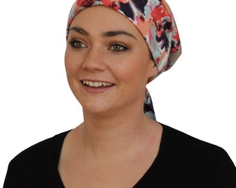 Gabrielle Pre-Tied Head Scarf -Women's Cancer Headwear, Chemo Scarf, Alopecia Hat, Head Wrap,  Head Cover for Hair Loss - Blurred Flowers