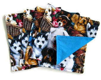 Kids Cloth Napkins, Small Cotton Reversible Napkins,  Set of 4, Dog Print, Double Sided Lunchbox Napkins, 2 Ply, Reusable, Washable, Blue