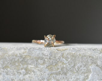 Uncut Diamond Ring, Raw Authentic Fancy Diamond and 14K Gold Fill Engagement Ring, Chiseled Band, Size 6 Wedding Ring, Unique Proposal Ring