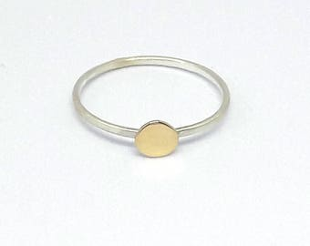 solid gold  nugget ring sterling  18 kt gold silver delicate ring  matte finish minimalist jewelry  stackable ring