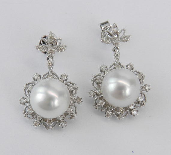 South Sea Pearl and Diamond Dangle Drop Earrings 18K White Gold June Birthstone Wedding Gift