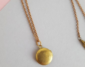 Vintage brass tiny locket necklace