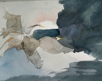 "Laguna Atascosa Series "" Great Blues in Flight "" original, one of a kind watercolor"