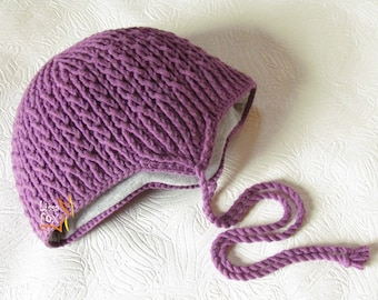 Purple children's hat with ears for baby Crochet Outfits