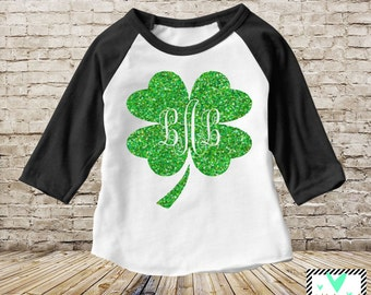Monogram Shamrock Baseball Tee - Shamrock Shirt - St. Patrick's Day Shirt - St. Patrick's Day - Shamrock Shirt - Glitter Shirt - March Shirt