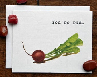 Blank Note Card, Radish Pun, Thank You Card, You're Rad, Thank You Note