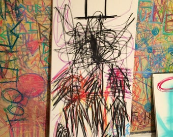 Abstract Oil Stick Drawing on Canvas 2017