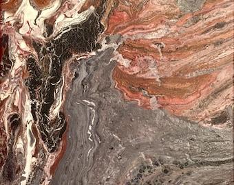 "Marbled Acrylic 12"" x 12"" Original Painting ""Carlsbad Cavern"""