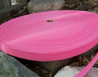 Pink  Polypro one-inch Webbing, Belting, Webbing for Dog collar