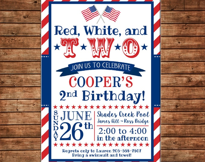 Boy or Girl Invitation Red White Two Patriotic Birthday Party - Can personalize colors /wording - Printable File or Printed Cards