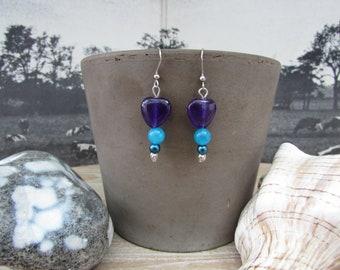 "Earrings silver dangle ""Kaléïdo"" natural stones"