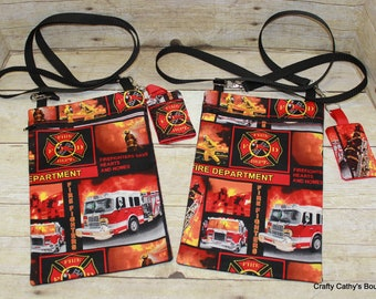 Crossbody Bag, Hipster Bag, eReader Bag, Tablet Bag, Firetruck, Fireman, Key Fob, Key Chain