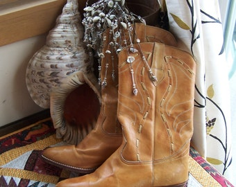 Leather Boots, Western, Cowboy, Tan, Brown, Brazil, size 10