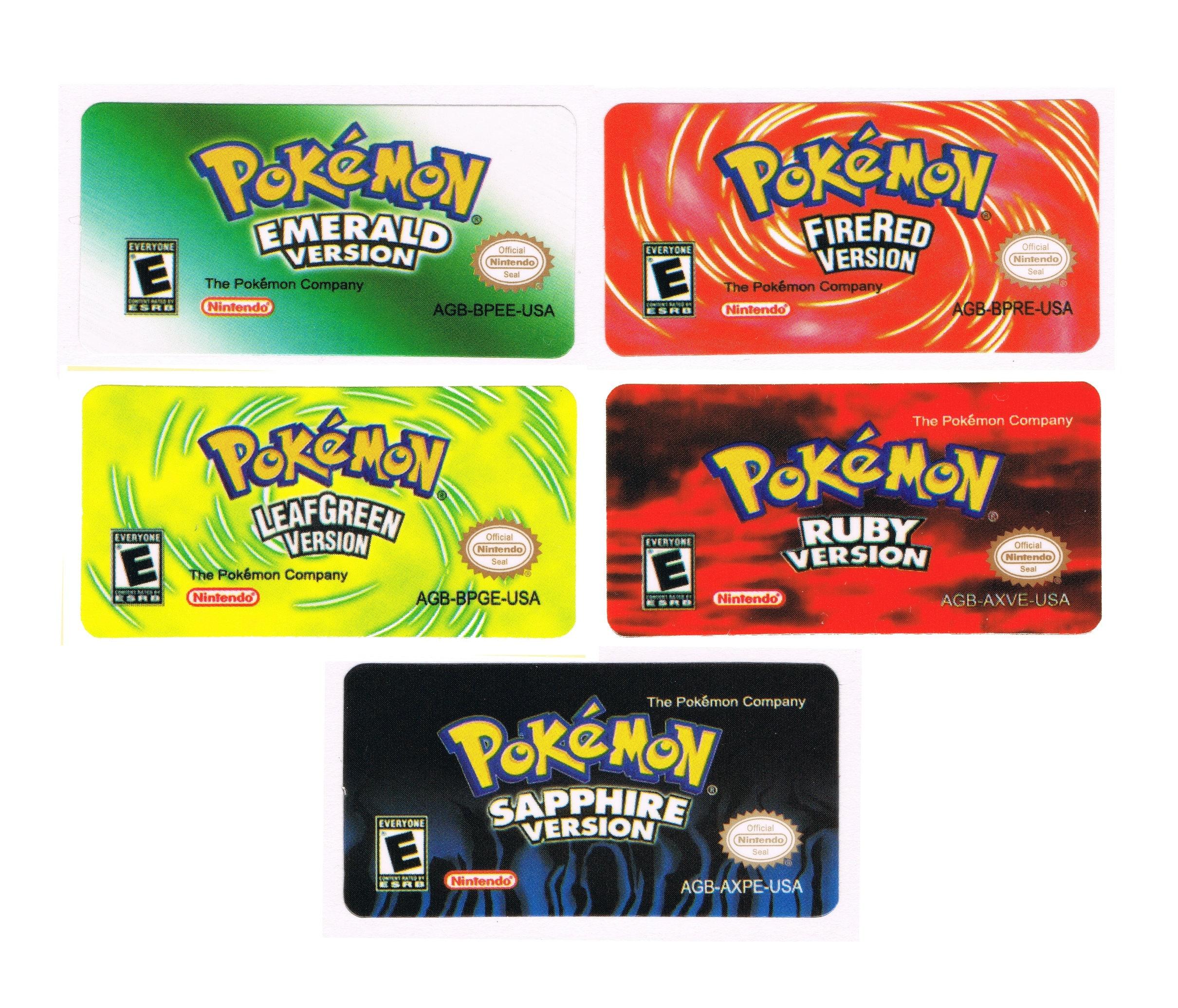 Pokemon Gba Replacement Labels Stickers Gameboy Advance Glossy # Comprar Muebles Pokemon Esmeralda