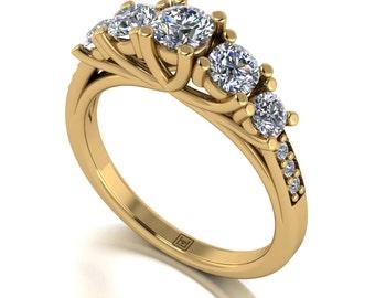 Moissanite Ring in 9 Carat Yellow or White Gold