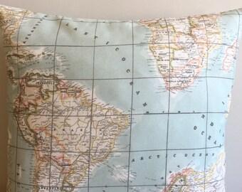 World Map Pillow Covers 18x18 Pillow World Map Pillows Designer Pillow World Map Pillow Cushion Sofa Pillow Cover