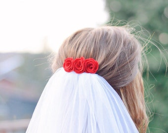 Red felt flower hair comb   simple wedding hair accessory   bridesmaid hair accessories   gift for her