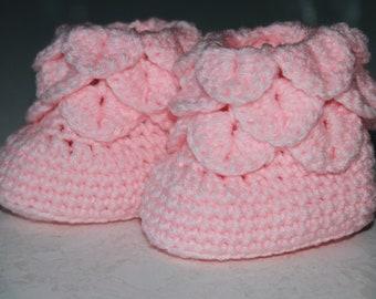 Au point de crocodile au crochet de bottes pour bébés (0-12 mois)