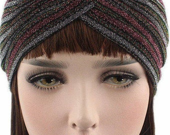 Sparkle Vintage turban Fullhead Cap, 40s glitter turbans Head cap.