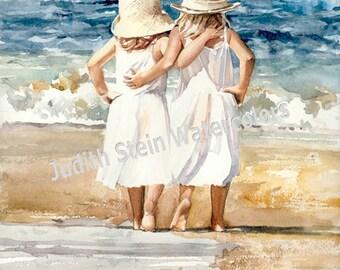 "Watercolor Painting Print, Sister, Friend, Hug, Beach, White Dress, Straw Sun Hat, Seagull, Children Wall Art, Home Decor, ""Beach Skippers"""